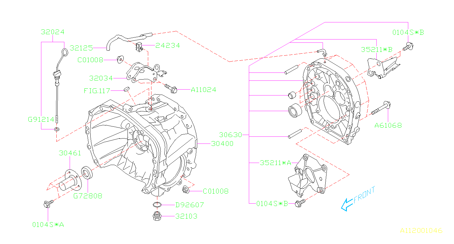 MT, CLUTCH HOUSING. EXC.OIL PUMP. Diagram