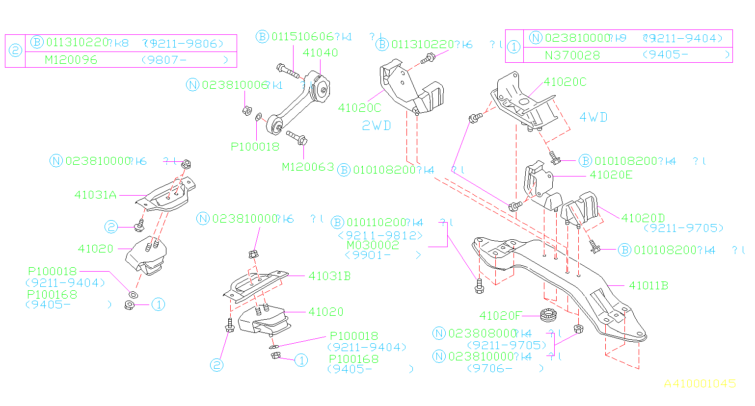 Diagram ENGINE MOUNTING. for your 2000 Subaru Impreza 2.5L AT 4WD RS Sedan
