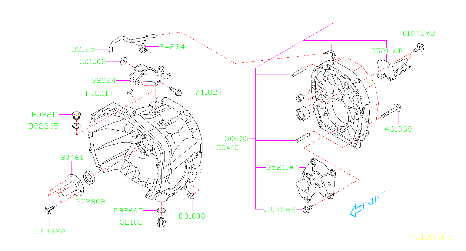 MT, CLUTCH HOUSING. Diagram