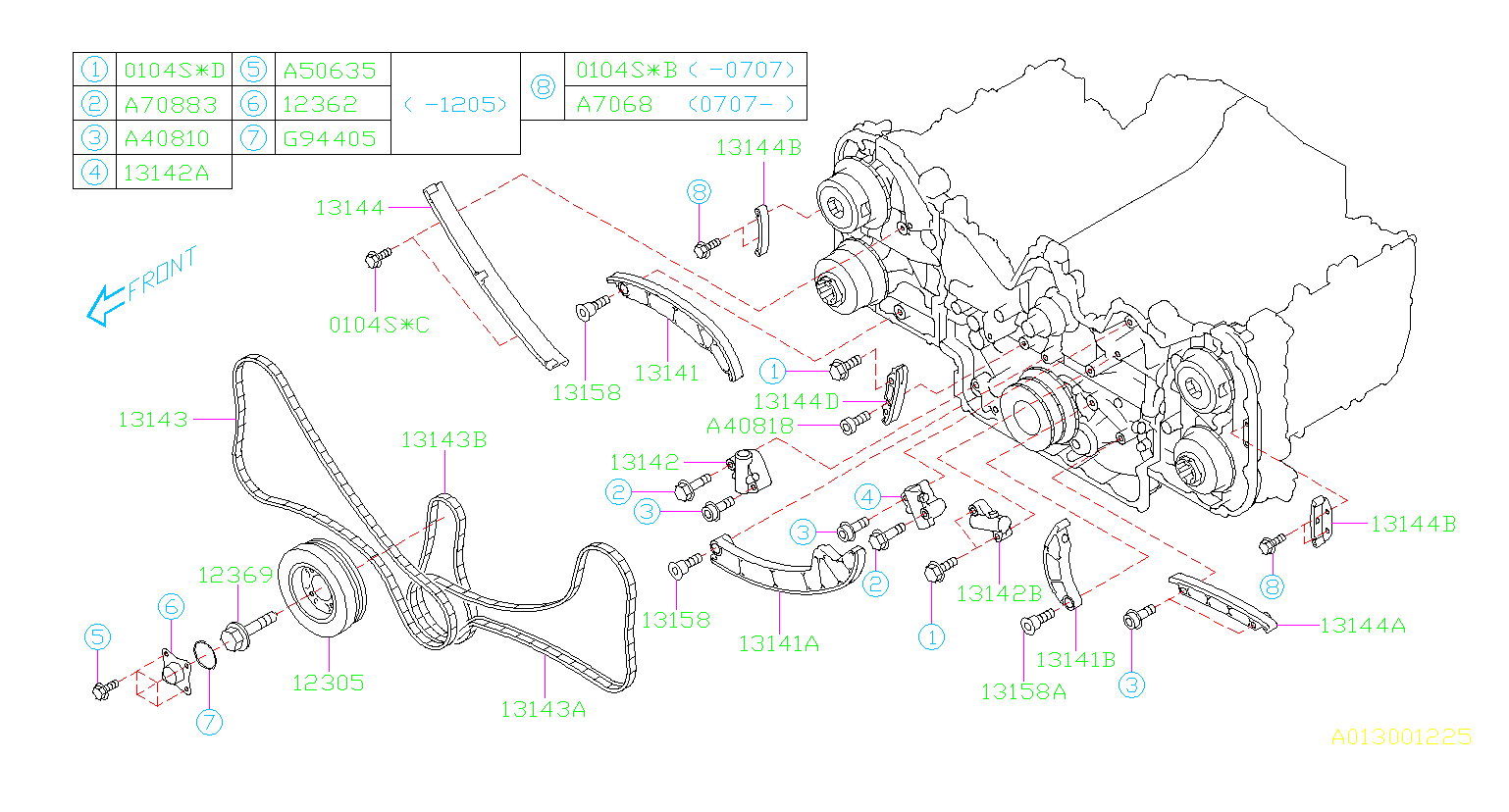 CAMSHAFT & TIMING BELT. TIMING BELT '08MY-. Diagram