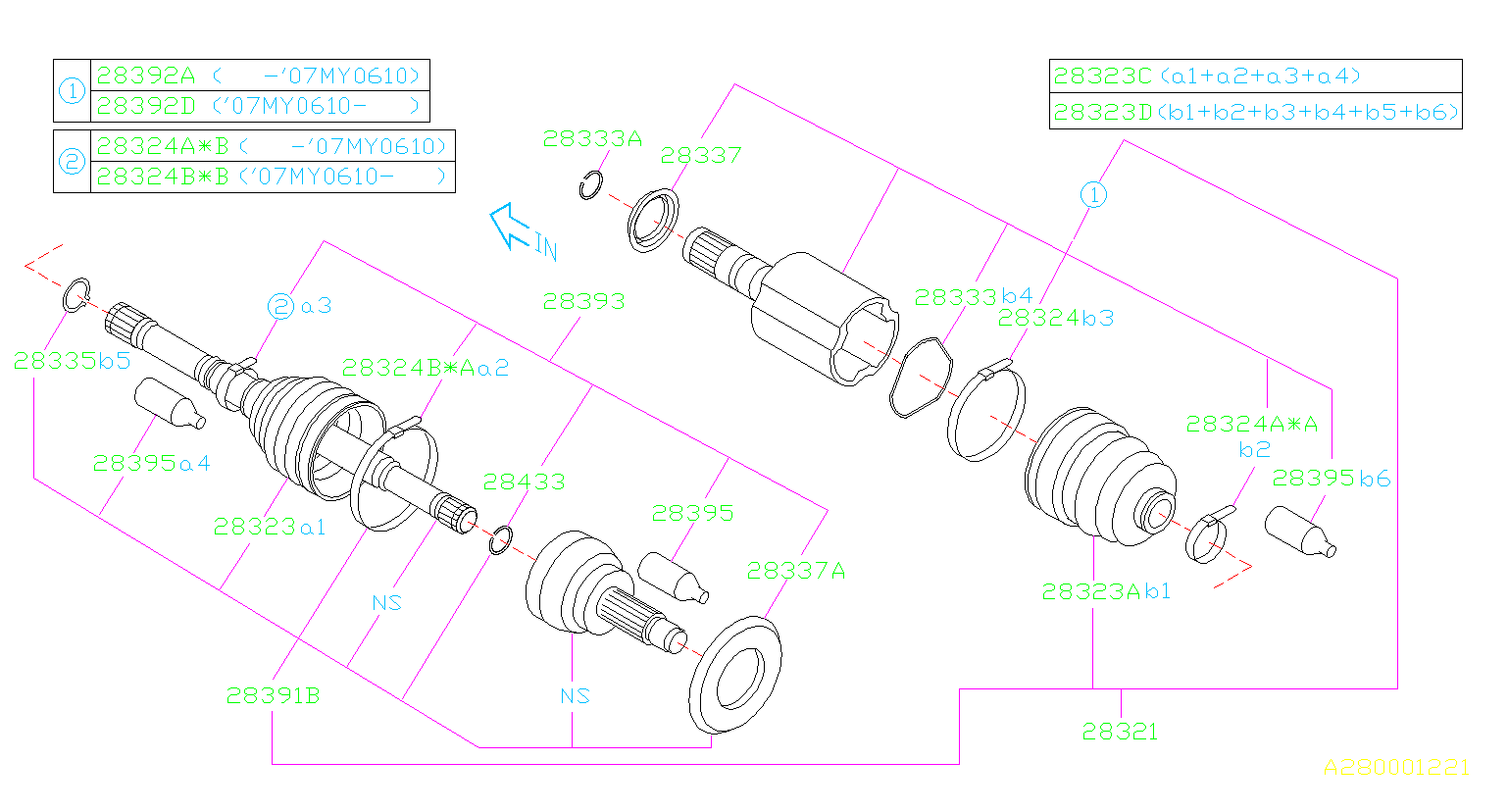 Diagram FRONT AXLE. DRIVE SHAFT. for your 2008 Subaru Tribeca 3.6L Limited